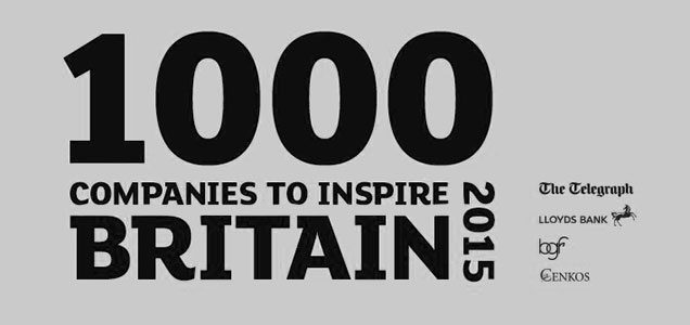 Logo for 1000 Companies to Inspire Britain 2015. Sponsored by The Telegraph, Lloyds Bank, Business Growth Fund and Cenkos