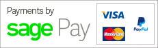 Payments by SagePay - Visa, Mastercard, American Express, Paypal