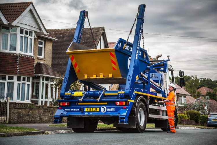 Skip being delivered at residential property