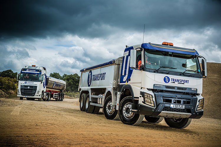 TJ Transport fleet of artic lorries and tippers used for bulk haulage