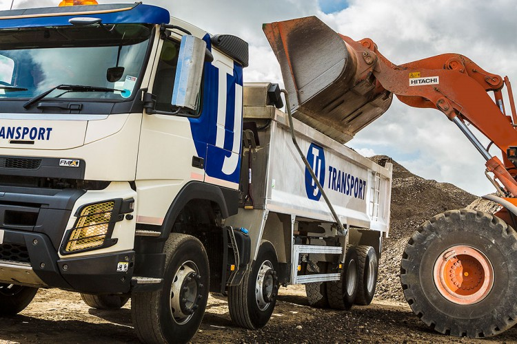 TJ Transport tipper lorry loaded with aggregates for bulk haulage