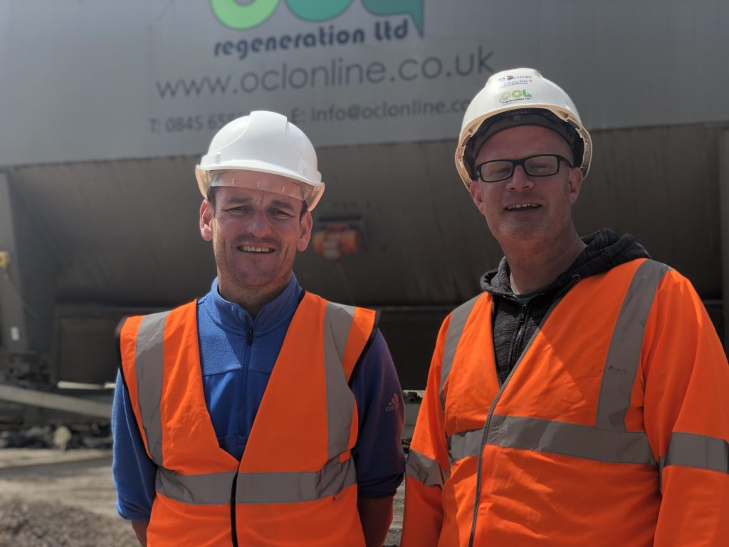Paul Smith (left) and OCL's Managing Director Stuart Gready at Butser trialling the HBM