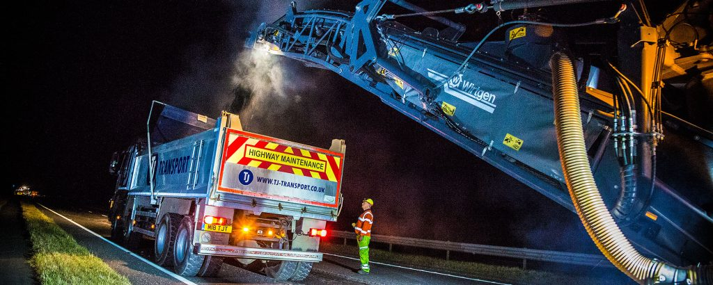 TJ Transport bulk haulage vehicles providing highway maintenance
