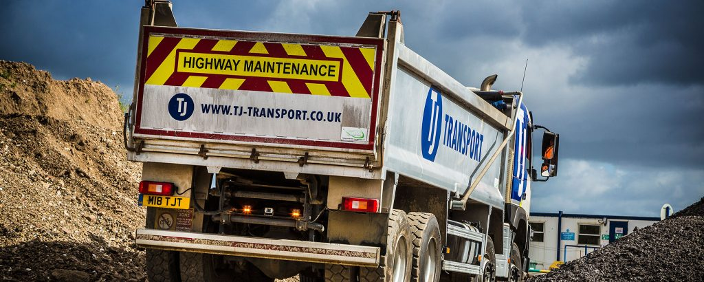 TJ Transport tipper lorry on site at Chichester