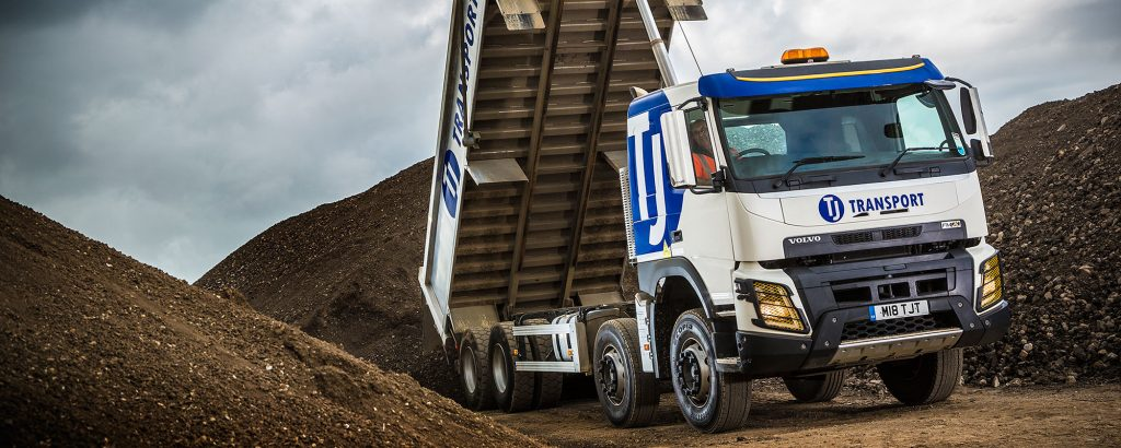TJ Transport tipper lorry tipping topsoil and aggregate waste