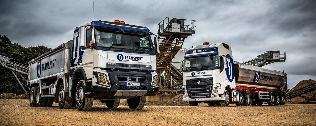 TJ Transport tipper lorries transporting aggregates
