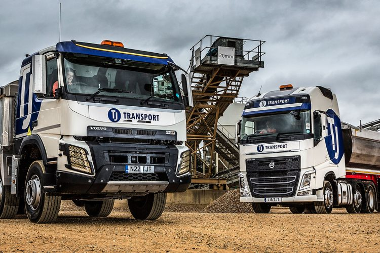 TJ Transport tipper lorries transporting aggregates