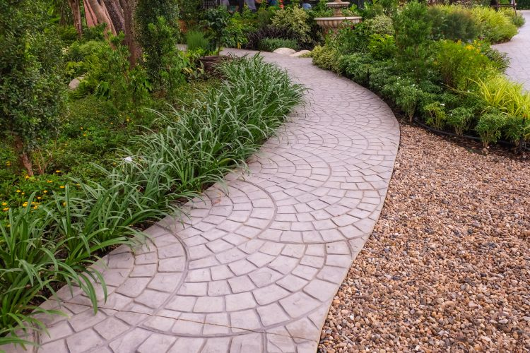 Gravel and paving in a landscaped garden