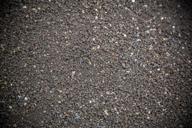 Close up of aggregate - screened topsoil